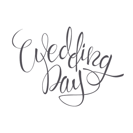 Wedding Day vector lettering text on white background.