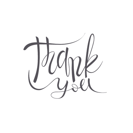 Thank you vector lettering text on white background. Hand-written Decorative Design Words in Curly Fonts. Great design for a greeting card or a print, romantic style