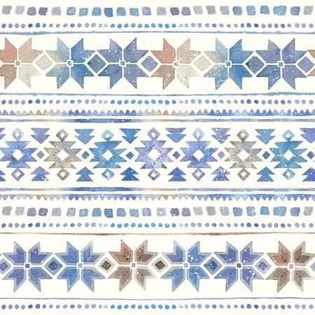 シームレスな水彩の冬部族ボーホパターン