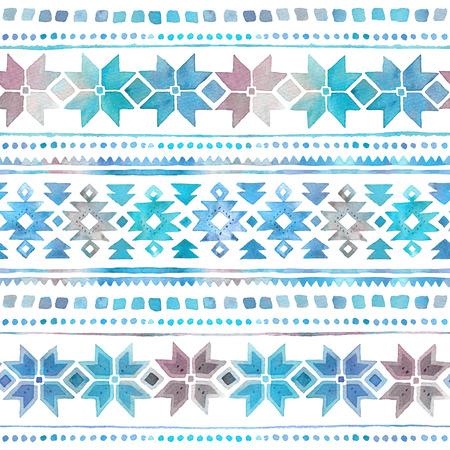 Seamless watercolor winter tribal Boho pattern 写真素材