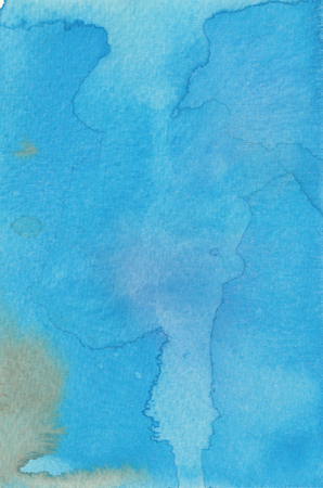 Abstract blue watercolol background with stains and splashes.