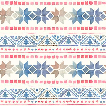 シームレスな水彩画民族部族ボーホパターン 写真素材