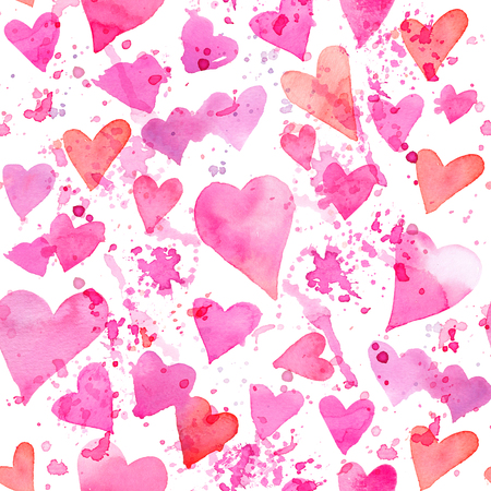 Seamless watercolor pattern with colorful hearts and splashes of paint. Bright tints of pink and red. Hand-painted romantic texture for Valentines Day, packaging, wedding, birthday 写真素材