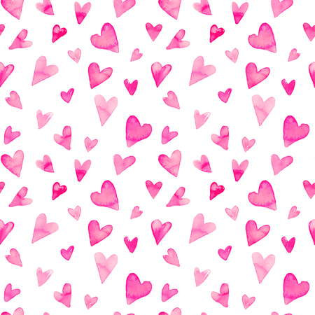Seamless watercolor pattern with colorful hearts. Bright tints of pink. Hand-painted romantic texture for Valentines Day, packaging, wedding, birthday