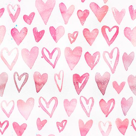 ピンクのハートとシームレスな水彩パターン。ピンクの明るく柔らかい色分け。バレンタインデー、パッケージング、結婚式、誕生日のための手描 写真素材