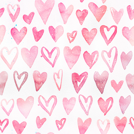 Seamless watercolor pattern with pink hearts. Light and soft tints of pink. Hand-painted romantic texture for Valentines Day, packaging, wedding, birthday