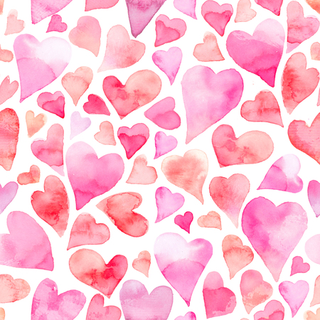 Seamless watercolor pattern with colorful hearts. Light and soft tints of pink and red. Hand-painted romantic texture for Valentines Day, newborns, packaging, wedding, birthday, mothers day