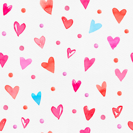 Seamless watercolor pattern with colorful hearts on a paper texture. Bright tints of pink, red and cyan blue. Hand-painted romantic texture for Valentines Day, packaging, wedding, birthday 写真素材