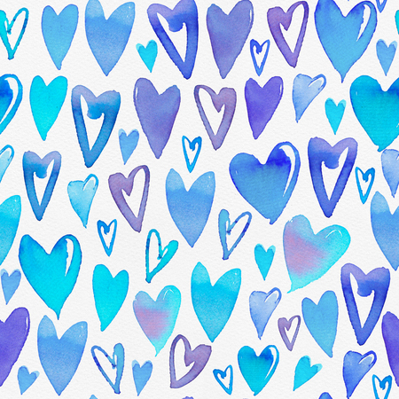 Seamless watercolor pattern with colorful hearts on a paper texture. Bright tints of cyan and blue. Hand-painted romantic texture for Valentines Day, packaging, wedding, birthday