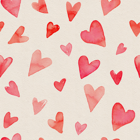 Seamless watercolor pattern with bright red heart on a paper texture. Hand-painted romantic texture for Valentine's Day, newborns, packaging, wedding, birthday, mother's day