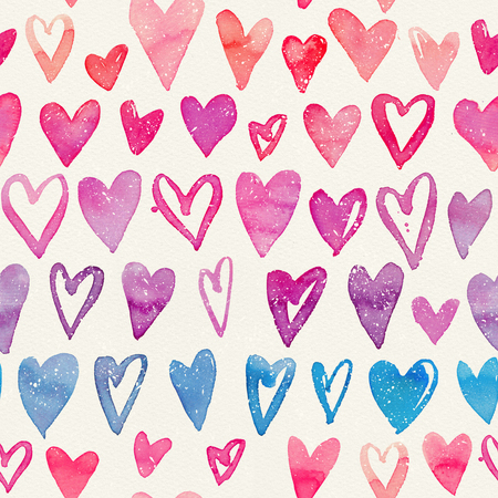Seamless watercolor pattern with colorful hearts on a paper texture. Bright tints of pink, red and blue. Hand-painted romantic texture for Valentines Day, packaging, wedding, birthday