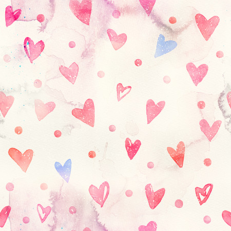 Seamless watercolor pattern with pink hearts. Light and soft tints of pink and blue. Hand-painted romantic texture for Valentines Day, packaging, wedding, birthday