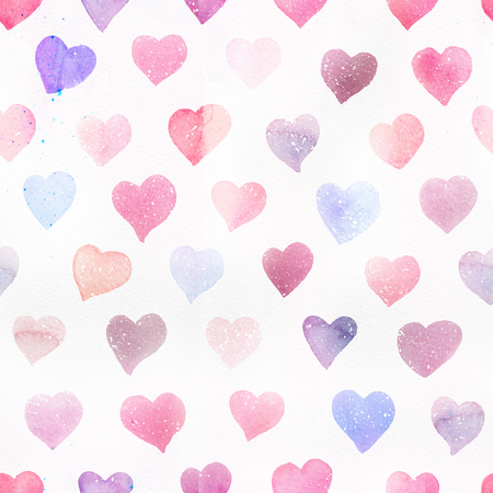 Seamless watercolor pattern with colorful hearts. Light and soft tints of pink, red, blue, purple. Hand-painted romantic texture for Valentines Day, packaging, wedding, birthday 스톡 콘텐츠