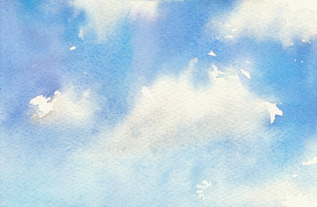 Watercolor illustration of clear sky with clouds. Sunny day. Hand painted background, natural painting backdrop