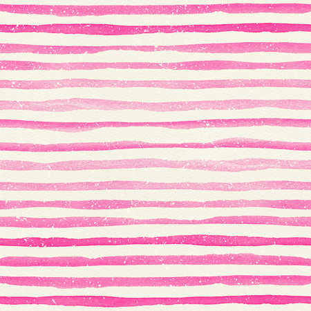 Watercolor seamless pattern with pink horizontal stripes on a watercolor paper texture. Hand-painted lines with drops, texture for packaging, wedding, birthday, scrapbooking Stock Photo
