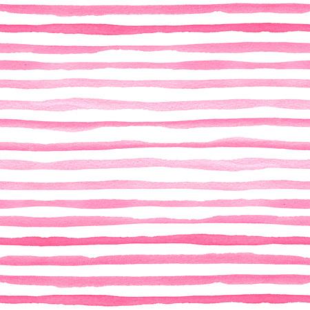 ピンクの水平ストライプと水彩シームレスなパターン。パッケージング、結婚式、誕生日、スクラップブッキングのための手描きのテクスチャ 写真素材