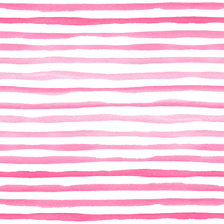 Watercolor seamless pattern with pink horizontal stripes. Hand-painted texture for packaging, wedding, birthday, scrapbooking