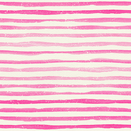 Watercolor seamless pattern with pink horizontal stripes on a watercolor paper texture. Hand-painted lines with drops, texture for packaging, wedding, birthday, scrapbooking 写真素材