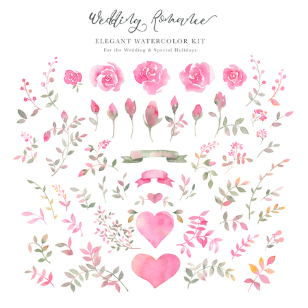 Handpainted watercolor rose flowers, rosebuds, leaves, hearts and ribbons. Elegant romantic clipart of pink roses for wedding greeting cards, Birthday, womans day, valentines