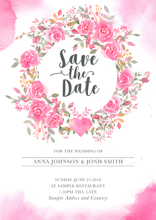 Wedding invitation card template with watercolor rose flowers. Elegant romantic postcard layout with pink roses and message for wedding greeting and Save the date cards Archivio Fotografico