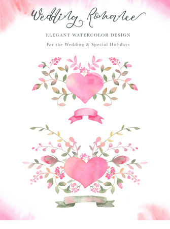 Handpainted watercolor arrangements with rose flowers, rosebuds, leaves, hearts and ribbons. Elegant romantic clipart with pink roses for wedding greeting cards, Birthday, womans day, valentines