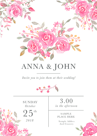 Wedding invitation card template with watercolor rose flowers. Elegant romantic postcard layout with pink roses and message for wedding greeting and Save the date cards Stok Fotoğraf