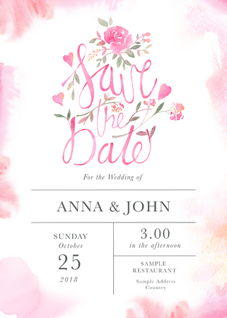 Wedding invitation card template with watercolor rose flowers. Elegant romantic postcard layout with pink roses and message for wedding greeting and Save the date cards Banco de Imagens