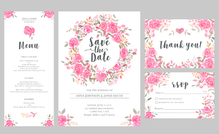 Set of wedding invitation card templates with watercolor rose flowers. Elegant romantic layout with pink roses and message for wedding greeting, Save the date cards, rsvp, menu, thank you