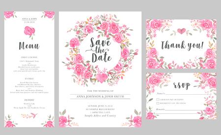 Conjunto de plantillas de tarjetas de invitación de boda con acuarelas rosas. Elegante diseño romántico con rosas rosadas y mensaje para el saludo de la boda, guardar las tarjetas de fecha, rsvp, menú, gracias