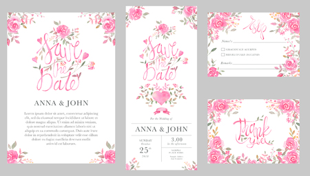 Set of wedding invitation card templates with watercolor rose flowers. Elegant romantic layout with pink roses and message for wedding greeting, Save the date cards, rsvp, thank you 写真素材