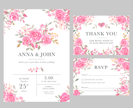 Set of wedding invitation card templates with watercolor rose flowers. Elegant romantic layout with pink roses and message for wedding greeting, Save the date cards, rsvp, thank you Banco de Imagens