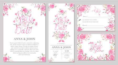 Set of wedding invitation card templates with watercolor rose flowers. Elegant romantic layout with pink roses and message for wedding greeting, Save the date cards, rsvp, thank you Ilustração
