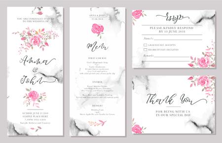 Conjunto de plantillas de tarjetas de invitación de boda con acuarelas rosas. Diseño romántico elegante con rosas rosadas y mensaje para saludo de boda, guardar las tarjetas de fecha, rsvp, menú, gracias Ilustración de vector