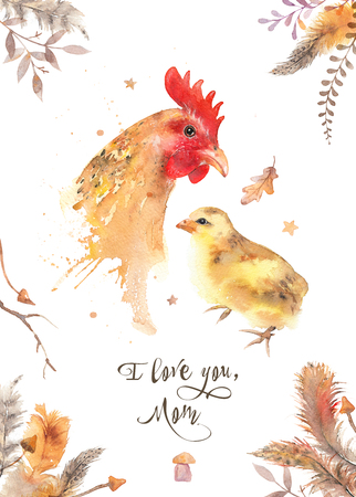 I love you mom - watercolor hen and chicken invitation card. Mother and baby illustration. Mothers Day poster. Trendy loose watercolor image isolated on white. Stock Photo