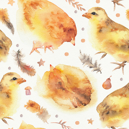 Watercolor seamless pattern with cute little chickens and feathers. Little baby concept for baby shower party, newborn babies. Hand painted seamless background for textile issues, packaging,