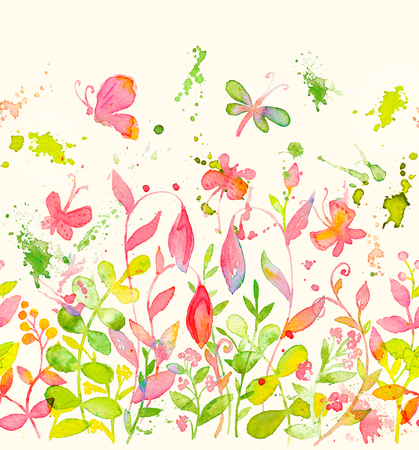 Happy and bright floral seamless endless border with hand drawn watercolor flowers and leaves. Beautiful ornament for textile printing, wrapping paper, packaging etc Stok Fotoğraf