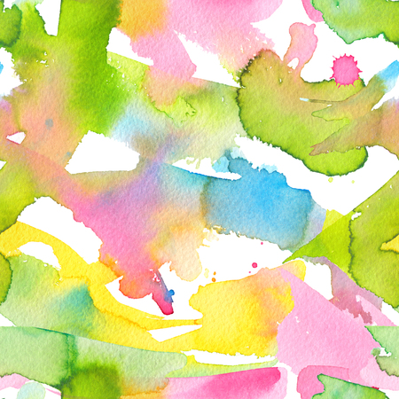Abstract watercolor hand painted seamless background with splashes and smears. Colorful bright pattern with rainbow colors for the posters backdrop, a carnival, holidays, print