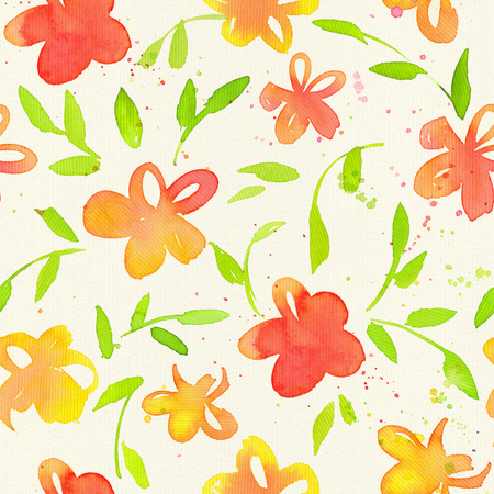Happy and bright floral seamless pattern with hand drawn watercolor flowers and leaves. Beautiful ornament for textile printing, wrapping paper, packaging etc Stock Photo