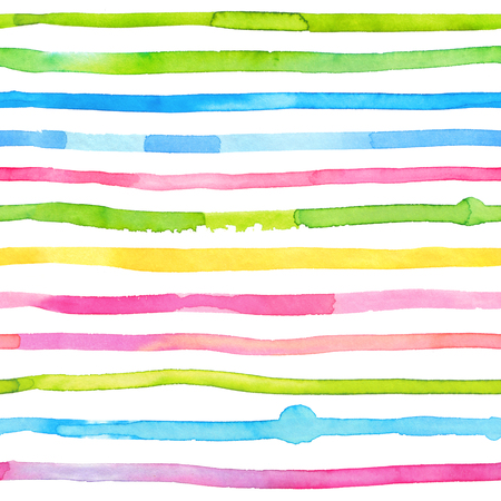 Colorful watercolor stripes - abstract seamless pattern. Bright and happy multicolored endless background with hand drawn washes drawn with paints Banco de Imagens