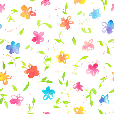 Happy and bright floral seamless pattern with hand drawn watercolor flowers. Beautiful ornament for textile printing, wrapping paper, packaging etc