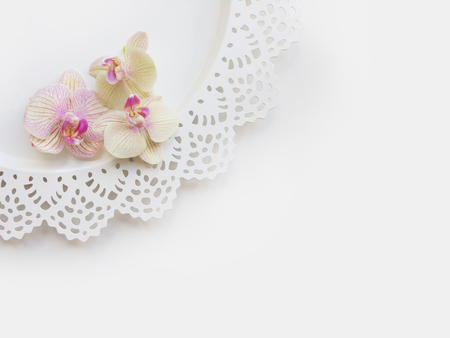 Flat lay composition with orchid flowers, elegant plate and blank paper sheet for text or artwork, white background. Light top view photo for business