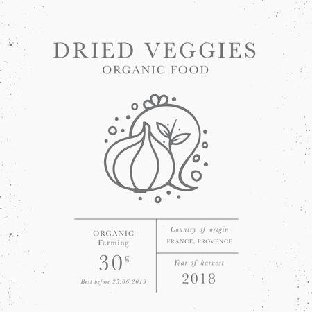 Dried veggies - emblem of packaging design template. Fresh local fruit and vegetables collection. Organic food - label in trendy linear style isolated on white background with texture