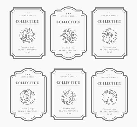 Collection d'étiquettes Pantry personnalisables en noir et blanc. Modèles de conception d'emballage vintage pour herbes et épices, fruits secs, légumes, noix, etc. Vecteurs