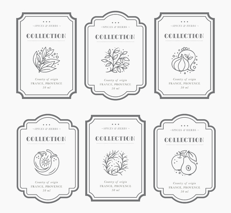 Customizable black and white Pantry label collection. Vintage packaging design templates for Herbs and Spices, dried fruit, vegetables, nuts etc Banco de Imagens - 111520482