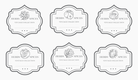 Czarno-biała kolekcja etykiet Pantry z możliwością dostosowania. Szablony projektów opakowań w stylu vintage dla ziół i przypraw, suszonych owoców, warzyw, orzechów itp