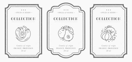 Colección de etiquetas Pantry personalizable en blanco y negro. Plantillas de diseño de envases vintage para hierbas y especias, frutos secos, verduras, frutos secos, etc.