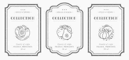 Customizable black and white Pantry label collection. Vintage packaging design templates for Herbs and Spices, dried fruit, vegetables, nuts etc Banco de Imagens - 111520483