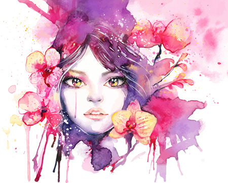 Beautiful woman with orchid flowers - watercolor fashion illustration with female portrait and pink orchids. Elegant painting isolated on white with vibrant pink and purple colors