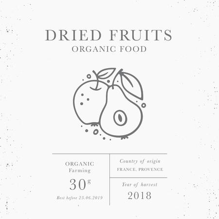 Getrocknete Früchte - Emblem der Verpackungsdesignschablone. Sammlung von frischem Obst und Gemüse aus der Region.