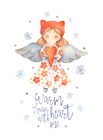 Christmas Greeting Card with Cute cartoon character - angel with red heart and knitted hat. Winter postard illustration of scandinavian or christian character with snowflakes. Warm your heart with me Stok Fotoğraf